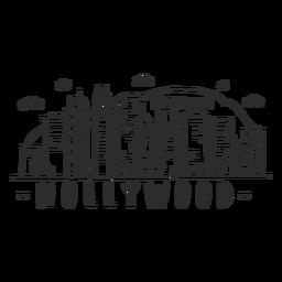 Hollywood-Hügelgebirgspalmbrückenturmhauben-Geschäftszentrumhimmelschabermallwolkenskylineaufkleber