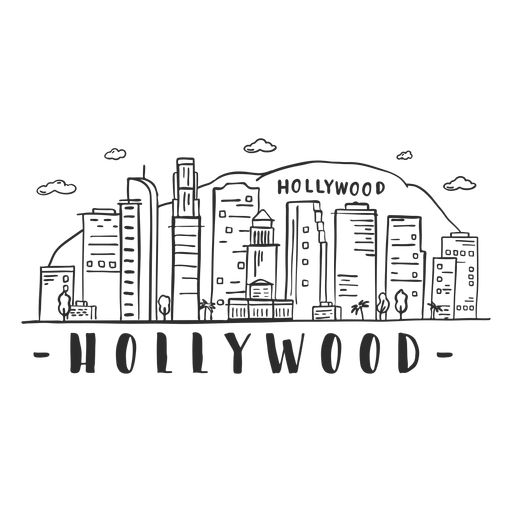 Hollywood hill mountain palm bridge tower dome business center sky scraper mall cloud skyline sticker Transparent PNG