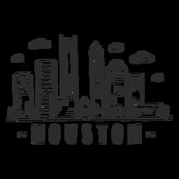 Etiqueta engomada del horizonte de la nube del centro comercial del rascacielos del centro de negocios de la bóveda de la catedral de Houston