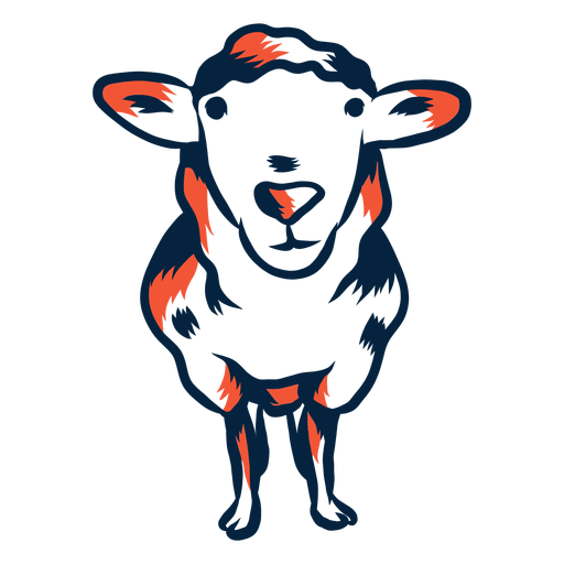 Illustrated duotone sheep Transparent PNG