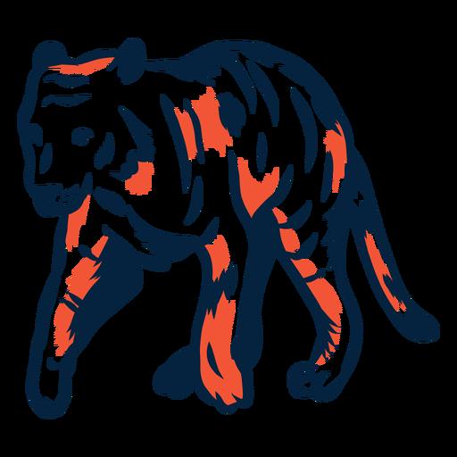 Tigre duotone ilustrado Transparent PNG