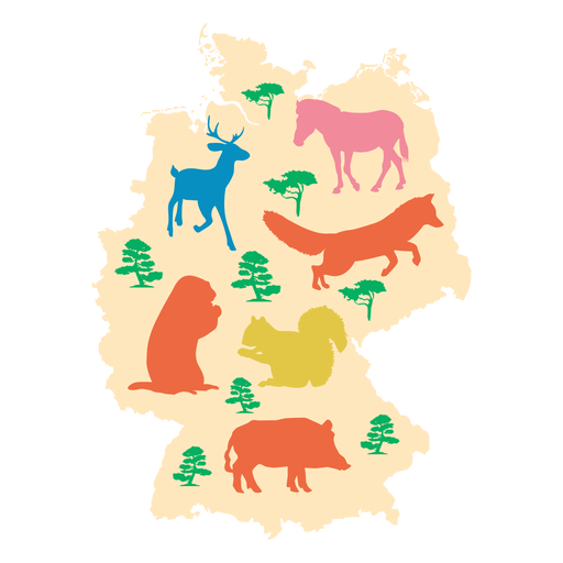 Illustrated germany map Transparent PNG