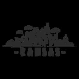 Etiqueta engomada del horizonte de la nube del centro de negocios de la bóveda del rascacielos del cielo de Kansas