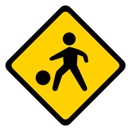 Niño niño bola niños zona residencial rombo advertencia plana