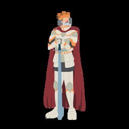 Rei coroa espada cuirass ilustração de manto