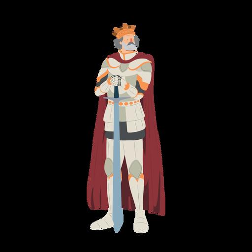 King crown sword cuirass cloak illustration