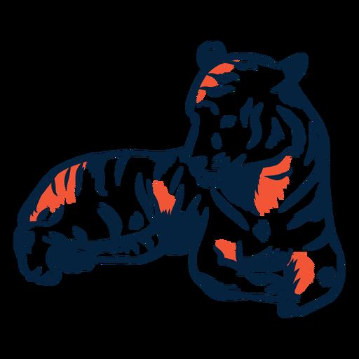 Laying tiger illustration Transparent PNG