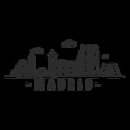 Etiqueta engomada del doodle del horizonte de Madrid