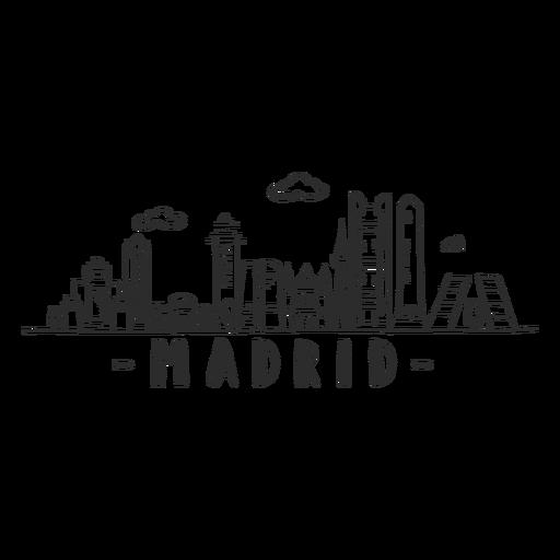 Madrid skyline doodle sticker Transparent PNG