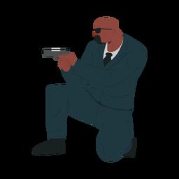 Homem, arma, segurança, ilustração