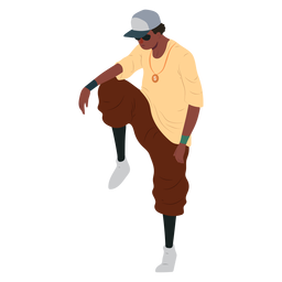 Man raper hip hop cap character illustration
