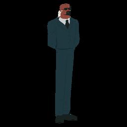 Hombre traje de seguridad corbata gafas negrita barba bigote auricular plano