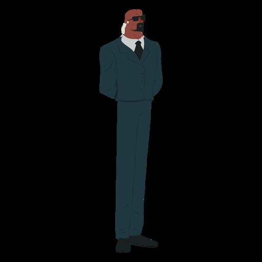 Man security suit tie glasses bold beard moustache earphone flat Transparent PNG