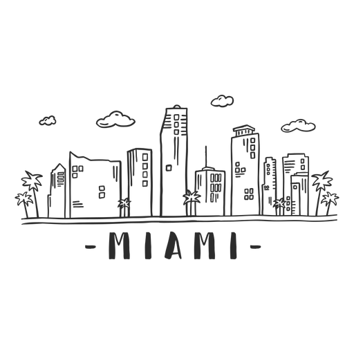 Miami palm business center sky scraper mall cloud skyline sticker Transparent PNG