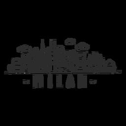 Pegatina del horizonte de la nube de la construcción del raspador del cielo del edificio del templo de Milán