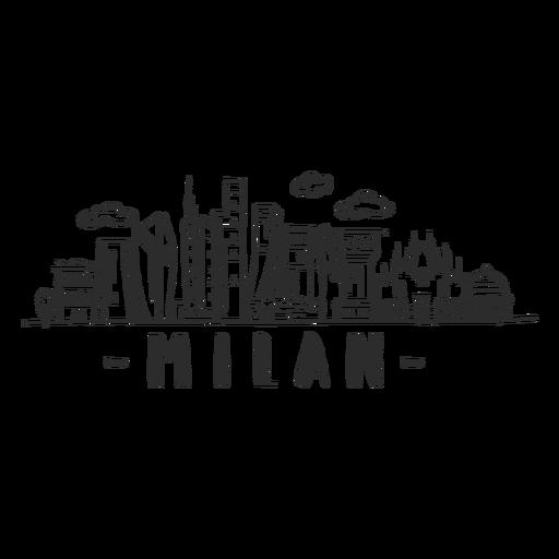 Milan skyline doodle sticker Transparent PNG