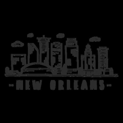 Pegatina del horizonte de la nube de la alameda del centro comercial del rascacielos de la catedral de New Orleans Transparent PNG