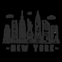 Autocolante no horizonte da construção do estado do império da estátua da liberdade de new york