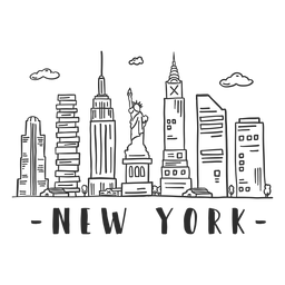 New york statue of liberty empire state building big apple spire business center sky scraper mall cloud skyline sticker