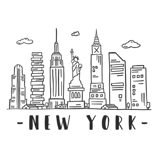 New york statue of liberty empire state building skyline sticker Transparent PNG