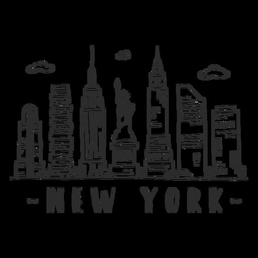 New york statue of liberty empire state building skyline sticker