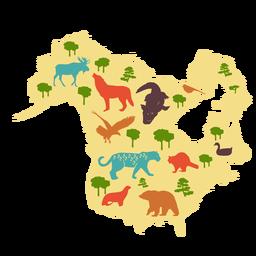 Mapa ilustrado da América do Norte