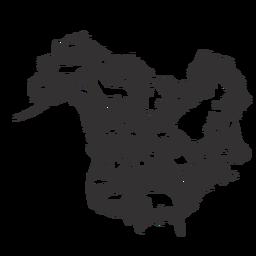 Mapa de silueta de america del norte