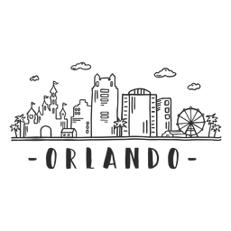 Orlando-Schlossparc Disneyland-Flaggenbeobachtungsradpalmengeschäftszentrumhimmelschaberzentrumwolkenskylineaufkleber