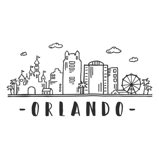 Orlando castle parc disneyland flag observation wheel palm business center sky scraper mall cloud skyline sticker Transparent PNG