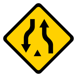 Pair arrow two rhomb warning flat