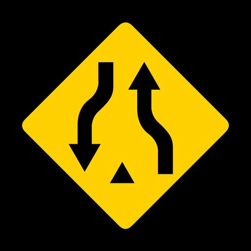 Par de flecha dos rombos de advertencia plana Transparent PNG