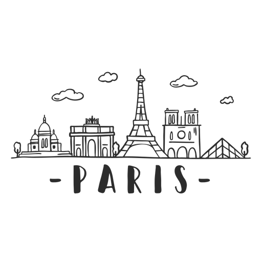 Paris Louvre Tower Torre Eiffel Notre Dame de Paris Arco de Triunfo Construcción de edificios Nube horizonte pegatina Transparent PNG