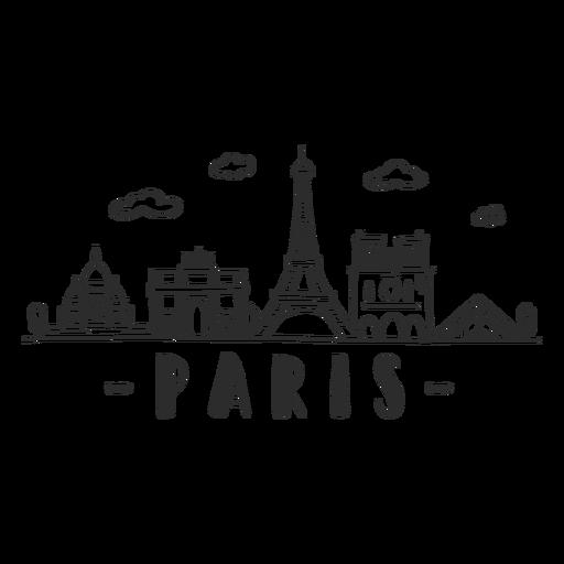 Paris torre da louvre eiffel torre notre dame de paris arco do triunfo construção de construção da nuvem skyline adesivo Transparent PNG