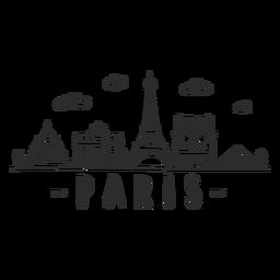 Pegatina doodle de horizonte de París