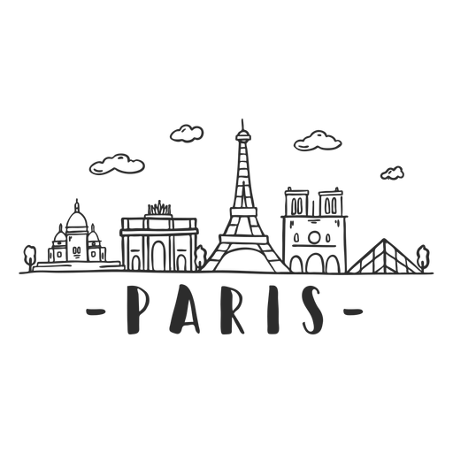 Paris skyline doodle sticker Transparent PNG