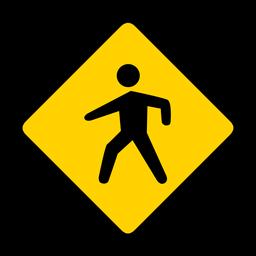 Paso de peatones rombo advertencia plana