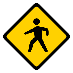 Pedestrian crossing rhomb warning flat