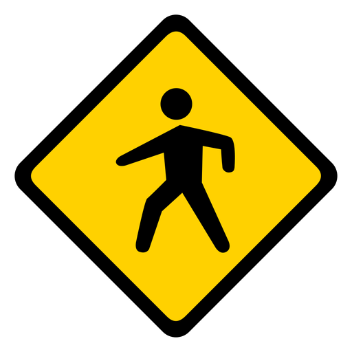 Pedestrian crossing rhomb warning flat Transparent PNG