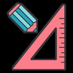Lápiz regla centímetro centímetro triángulo plano