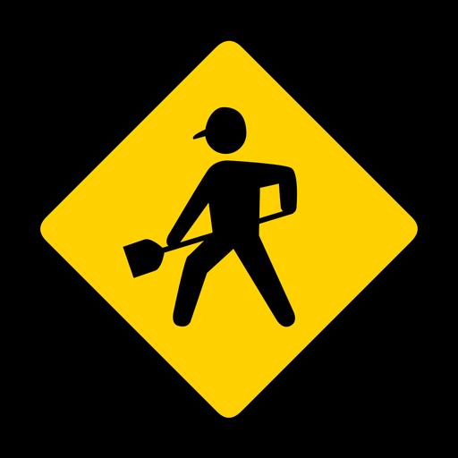 Person spade shovel work rhomb warning flat Transparent PNG