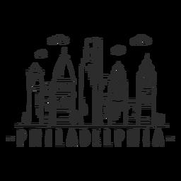 Pegatina del horizonte de la nube del centro comercial centro de negocios de la cúpula de la torre de la catedral de Filadelfia