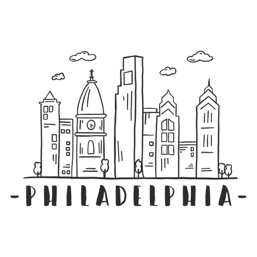 Philadelphia cathedral church tower dome business center sky scraper mall cloud skyline sticker Transparent PNG