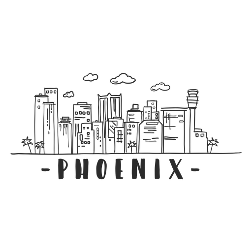 Phoenix palm tower business center sky scraper mall cloud skyline sticker Transparent PNG