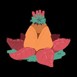 Ilustração da pirâmide de folhas de abacaxi