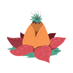 Pineapple leaf pyramid illustration
