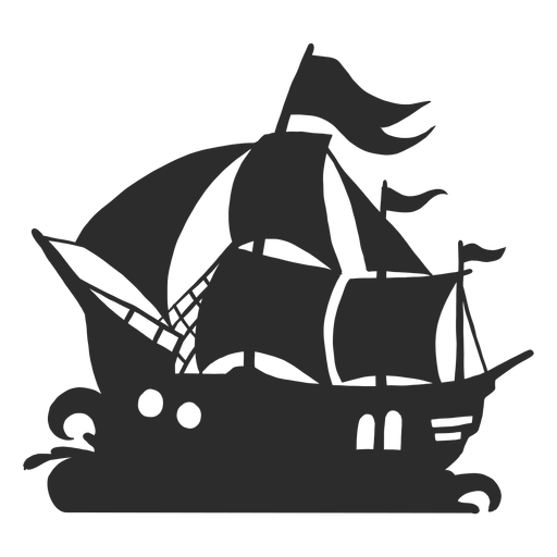 Silhueta de navio pirata Transparent PNG