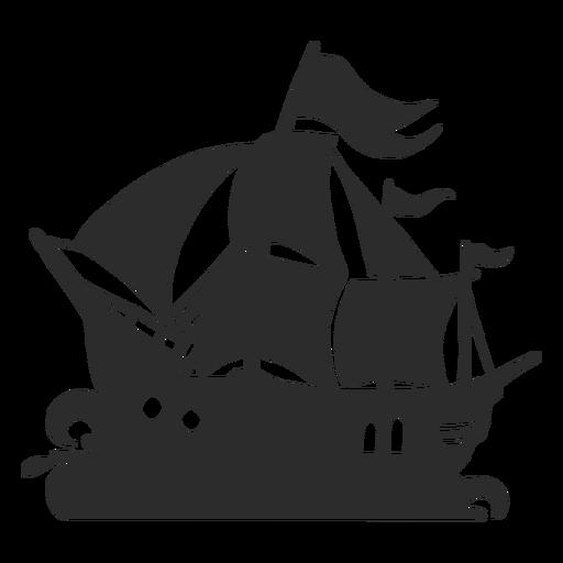 Silueta de barco pirata Transparent PNG