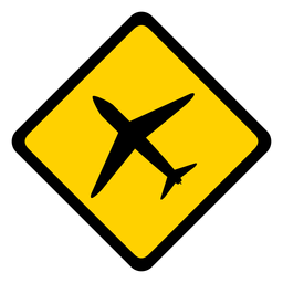 Plane airplane jet aeroplane aircraft rhomb warning flat
