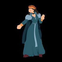 Princesa reina corona vestido collar manto ilustración