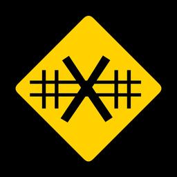 Cruce de ferrocarril advertencia de rombo plana